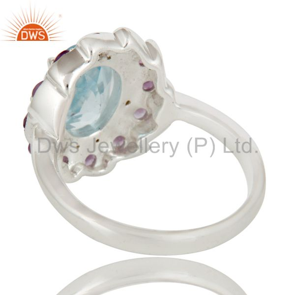 Suppliers Natural Purple Amethyst And Blue Topaz Sterling Silver Cocktail Ring