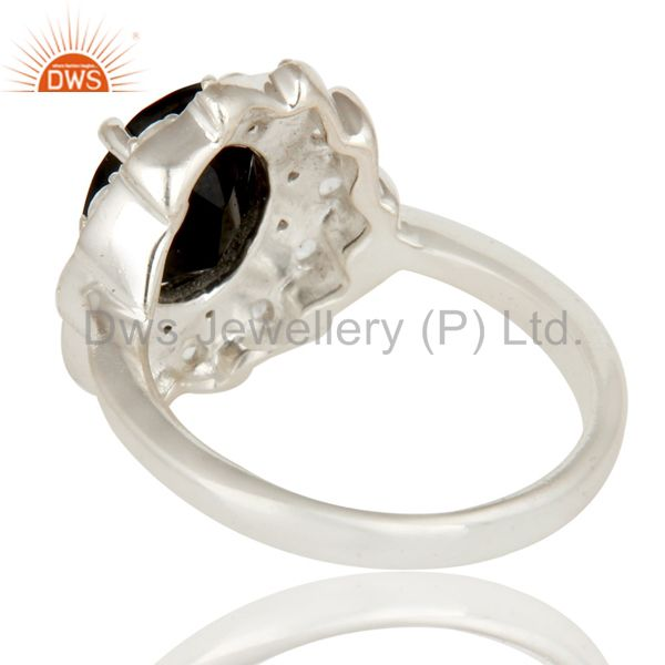Suppliers 925 Sterling Silver Black Onyx And White Topaz Designer Statement Ring