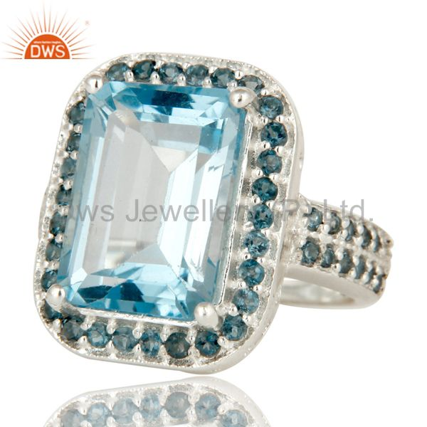 Suppliers 925 Sterling Silver Natural Blue Marquise Cut Gemstone Prong Set Statement Ring