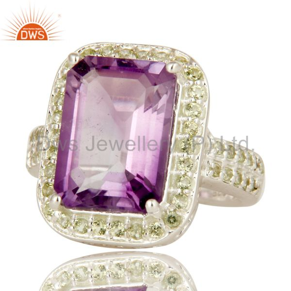 Suppliers 925 Sterling Silver Amethyst And Peridot Gemstone Statement Halo Ring