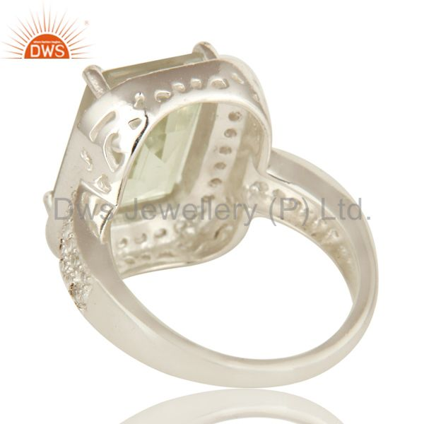 Suppliers Genuine Green Amethyst And White Topaz Sterling Silver Prong Set Cocktail Ring