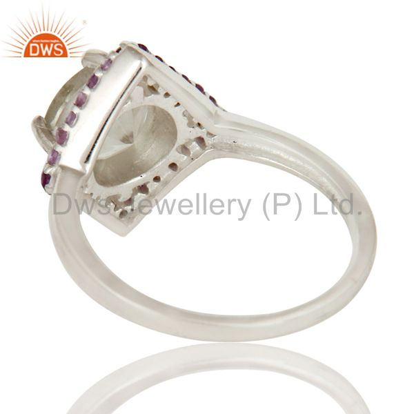 Suppliers Natural Green Amethyst And Purple Amethyst Sterling Silver Designer Cluster Ring