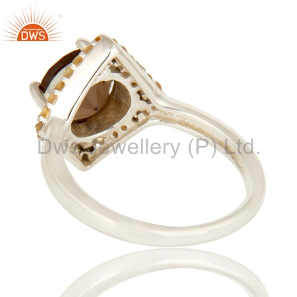 Suppliers 925 Sterling Silver Smoky Quartz And Citrine Gemstone Cocktail Ring
