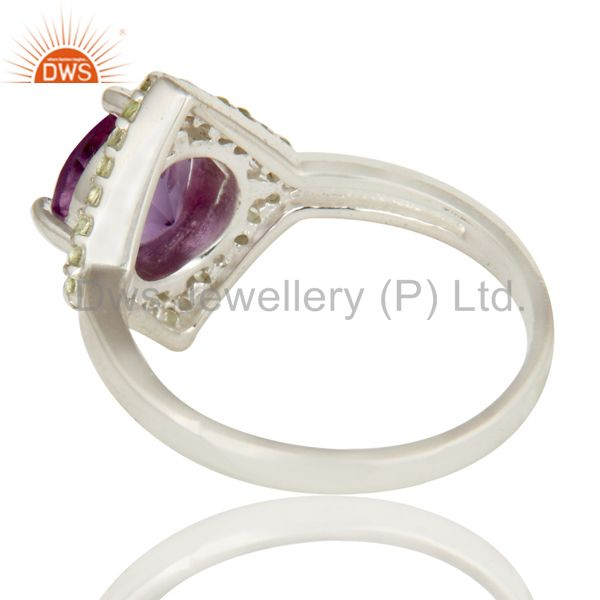 Suppliers 925 Sterling Silver Amethyst and Peridot Gemstone Cocktail Ring