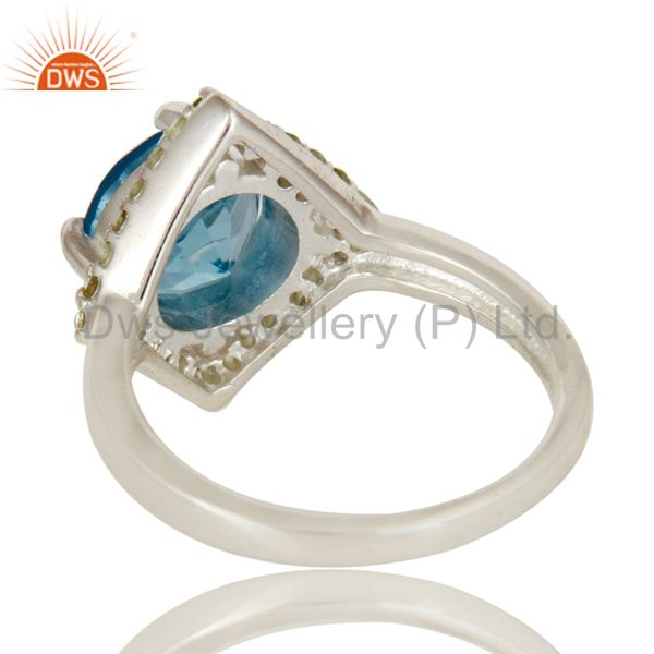 Suppliers 925 Sterling Silver Blue Topaz And Peridot Gemstone Designer Cocktail Ring