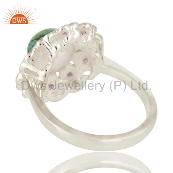 Suppliers 925 Sterling Silver Amethyst And Turquoise Gemstone Designer Cocktail Ring