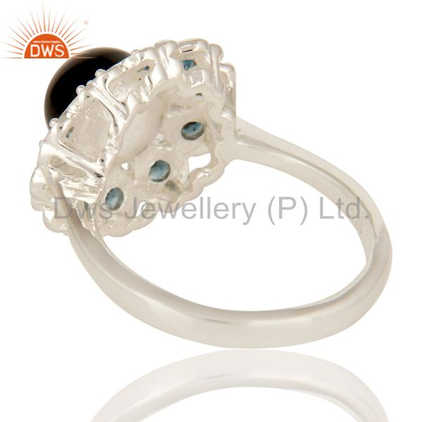 Suppliers 925 Sterling Silver Black Onyx And Blue Topaz Gemstone Cocktail Ring
