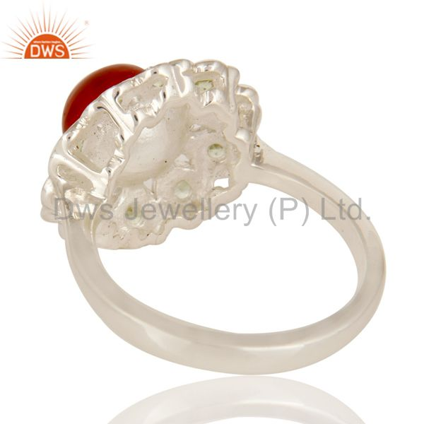 Suppliers Natural Peridot And Red Onyx Gemstone Cocktail Ring Made In Sterling Silver