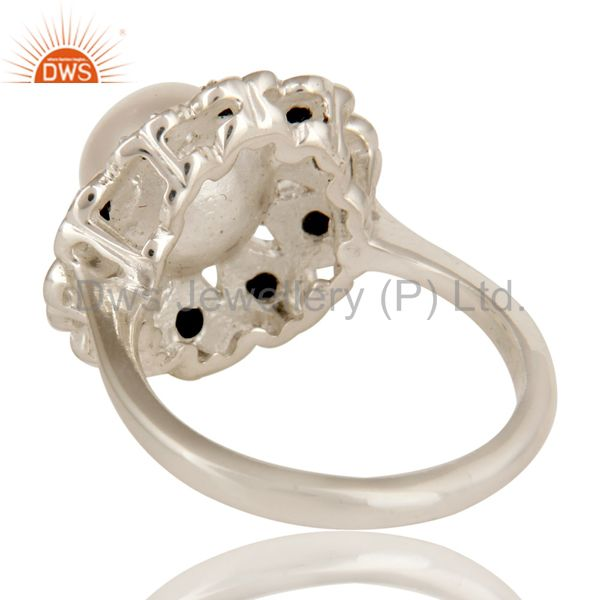 Suppliers 925 Sterling Silver Natural White Pearl And Black Spinel Flower Cocktail Ring