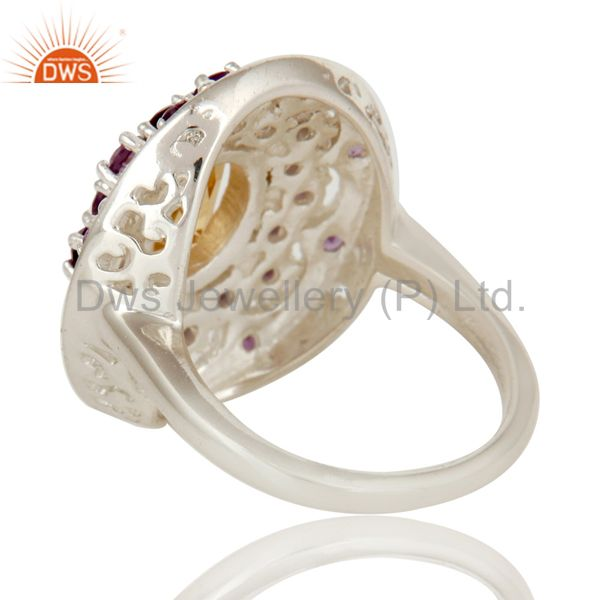 Suppliers 925 Sterling Silver Amethyst and Citrine Gemstone Cluster Statement Ring