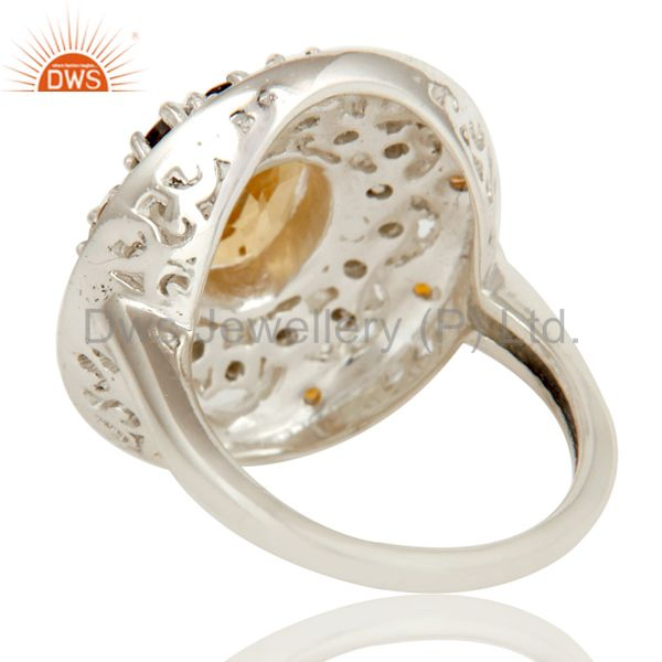 Suppliers 925 Sterling Silver Smokey Quartz and Citrine Gemstone Cluster Statement Ring