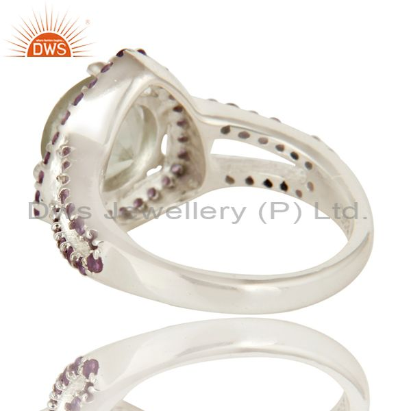 Suppliers 925 Sterling Silver Green Amethyst And Purple Amethyst Solitaire Ring