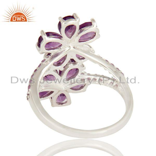 Suppliers 925 Sterling Silver Natural Amethyst Gemstone Prong Set Flower Statement Ring
