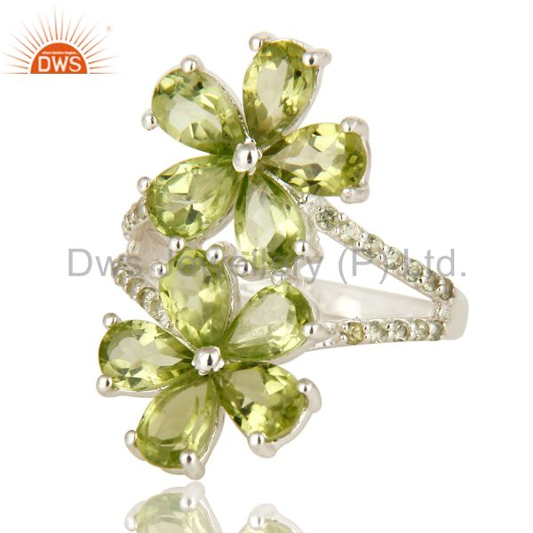 Suppliers 925 Sterling Silver Peridot And White Topaz Flower Cocktail Ring