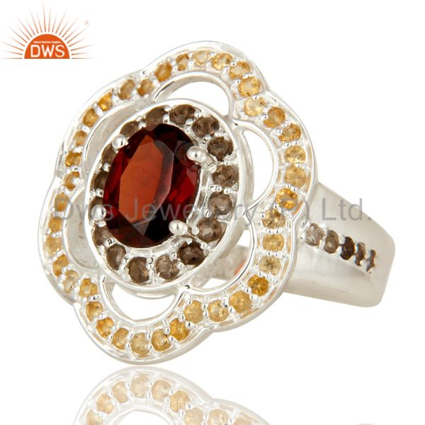 Suppliers Garnet, Smoky Quartz And Citrine Sterling Silver Halo Solitaire Ring