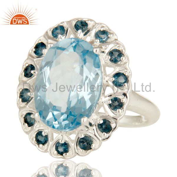 Suppliers 925 Sterling Silver Blue Topaz Gemstone Prong Set Statement Ring