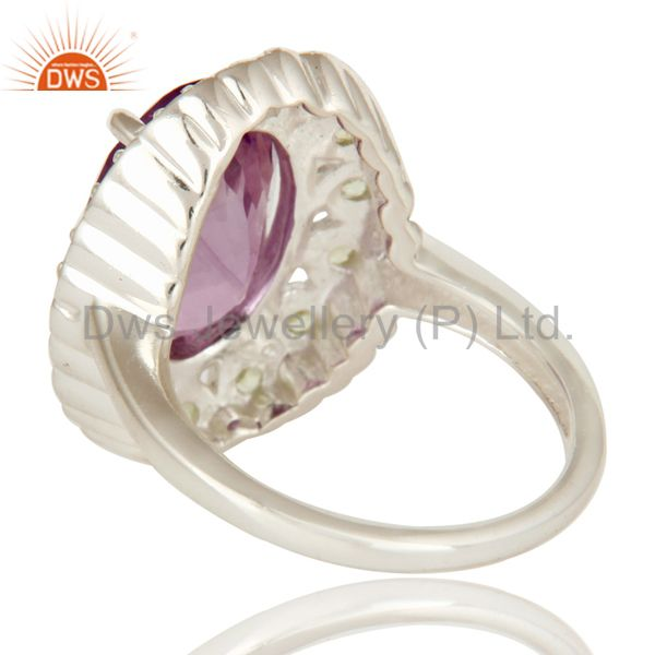 Suppliers 925 Sterling Silver Amethyst And Peridot Gemstone Halo Solitaire Ring