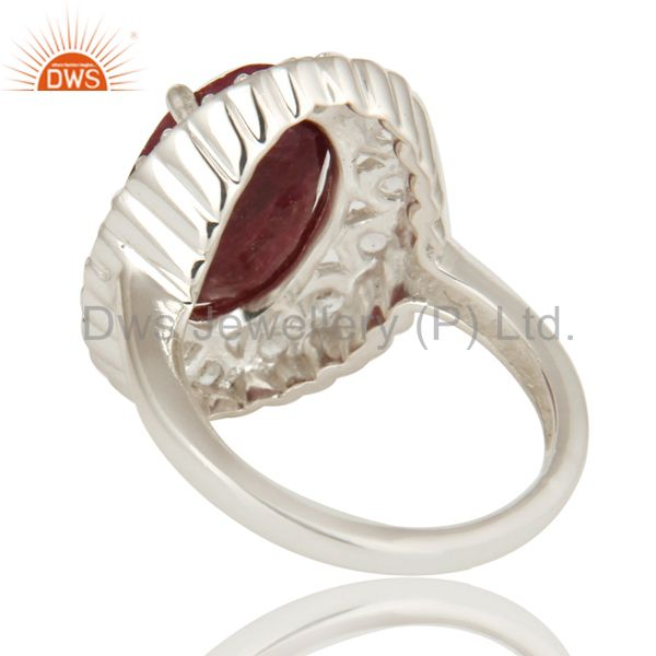 Suppliers Dyed Ruby Corundum And White Topaz Sterling Silver Gemstone Cocktail Ring