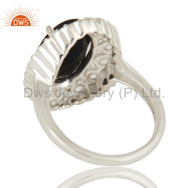 Suppliers Natural Black Onyx And White Topaz Sterling Silver Gemstone Statement Ring