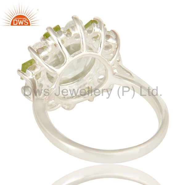 Suppliers Green Amethyst Peridot And White Topaz Sterling Silver Cluster Cocktail Ring