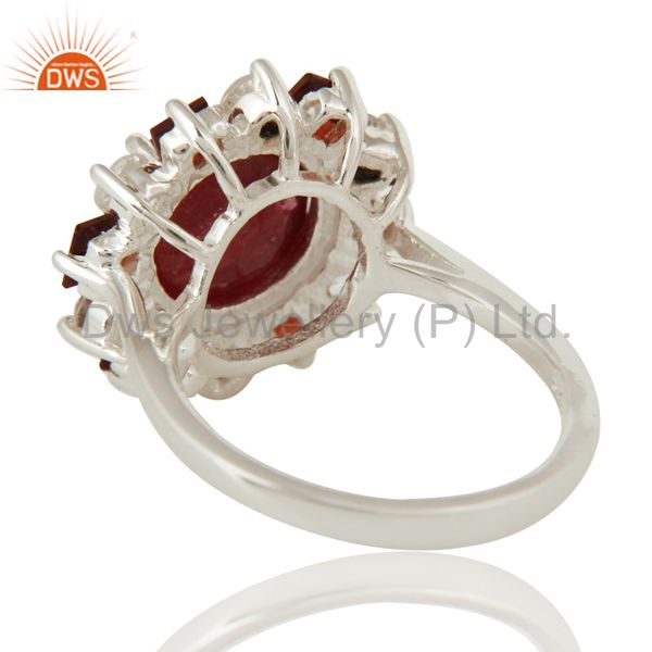 Suppliers 925 Sterling Silver Garnet And Red Corundum Cocktail Ring With White Topaz