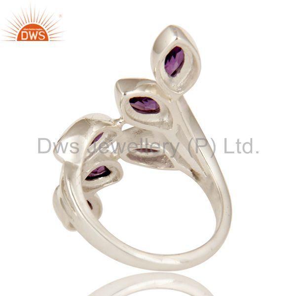 Suppliers 925 Sterling Silver Purple Amethyst Gemstone Marquise Cut Statement Ring