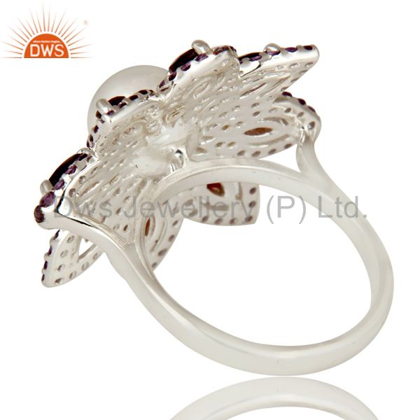 Suppliers Pearl, Amethyst and Garnet Sterling Silver Flower Design Cocktail Ring