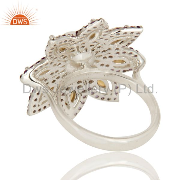 Suppliers Pearl, Amethyst and Citrine Sterling Silver Flower Design Cocktail Ring