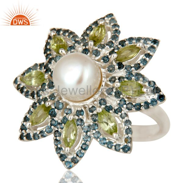 Suppliers Pearl, Peridot and Blue Topaz Sterling Silver Flower Design Cocktail Ring