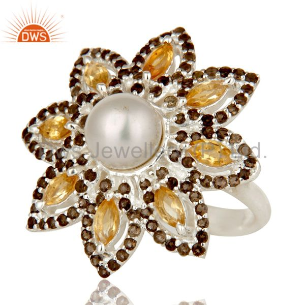 Suppliers Sterling Silver Pearl Citrine and Smokey Quartz Flower Design Cocktail Ring