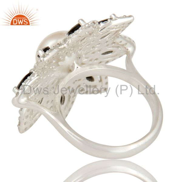 Suppliers Pearl, Black Onyx And White Topaz Sterling Silver Flower Design Cocktail Ring