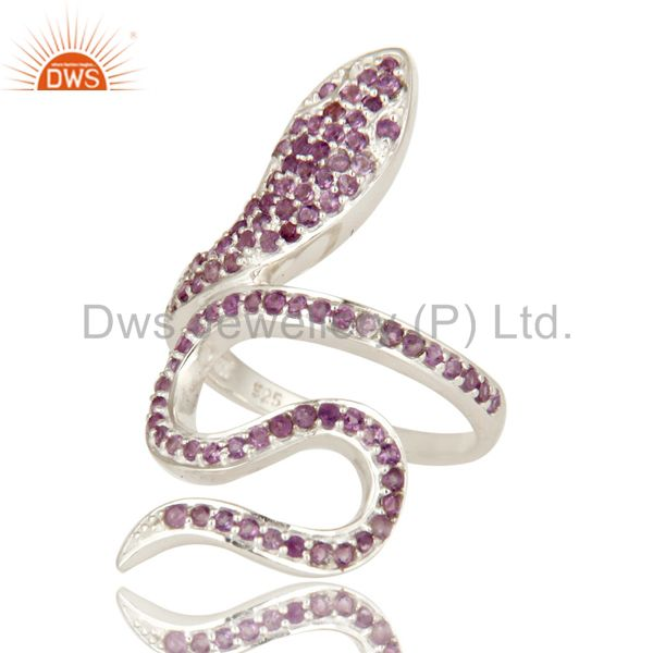 Suppliers 925 Sterling Silver Natural Amethyst Gemstone Pave Set Snake Statement Ring