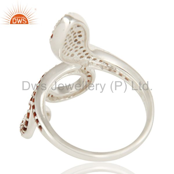 Suppliers 925 Sterling Silver Snake Ring Studded with Natural Garnet Gemstone