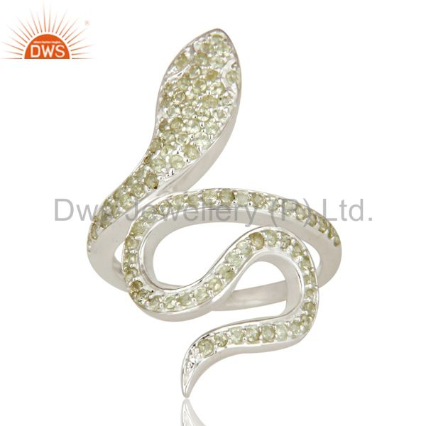 Suppliers 925 Sterling Silver Peridot Gemstone Handmade Snake Design Knuckle Ring