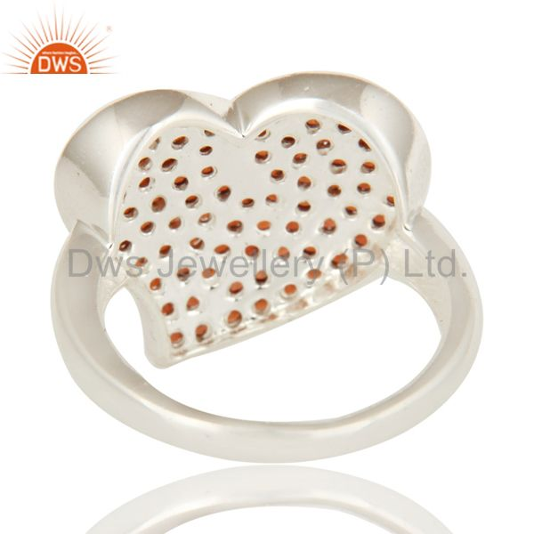Suppliers 925 Sterling Silver Natural Garnet Pave Set Heart Design Ring For Womens Gift