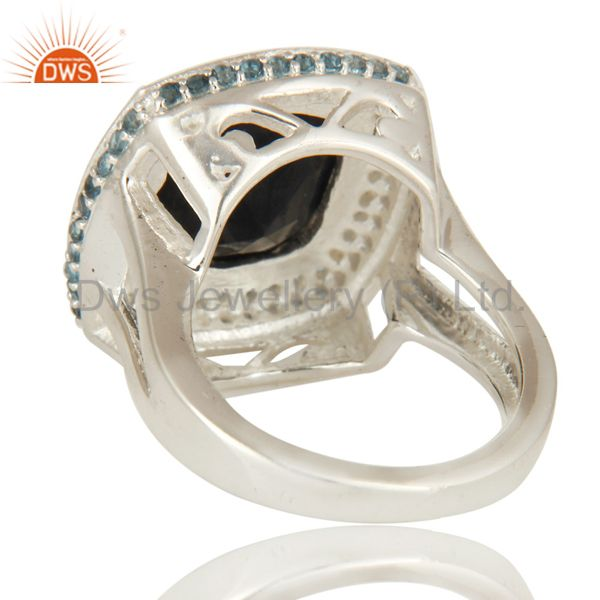 Suppliers 925 Sterling Silver Black Onyx And White Topaz Gemstone Cocktail Ring