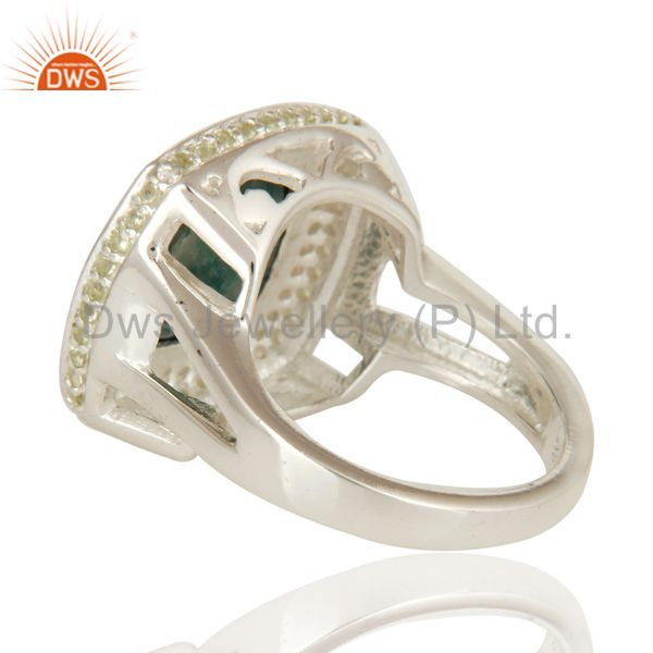 Suppliers Emerald Green Corundum And Peridot Sterling Silver Cocktail Ring