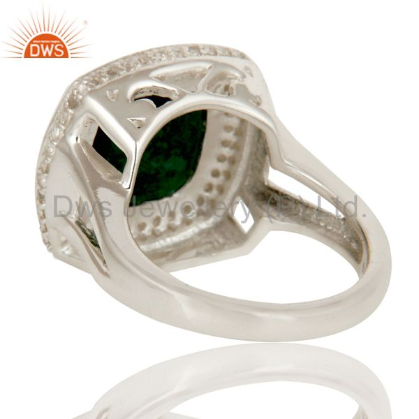 Suppliers Emerald Green Corundum And White Topaz Sterling Silver Cocktail Ring
