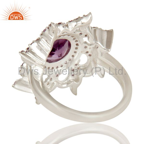 Suppliers 925 Sterling Silver Natural Amethyst Gemstone Cocktail Ring Designer Jewelry