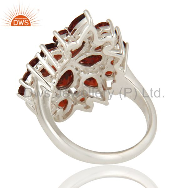 Suppliers 925 Sterling Silver Natural Garnet Gemstone Cluster Statement Ring