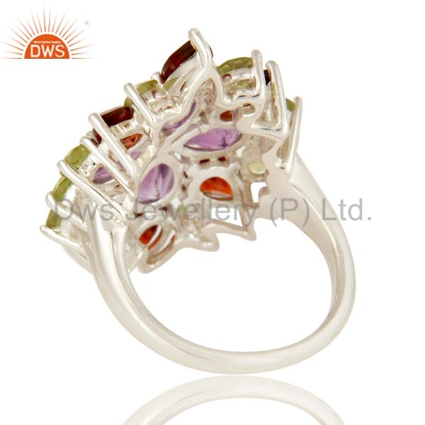 Suppliers Natural Amethyst Garnet Peridot 925 Sterling Silver Ring Personalized Jewelry
