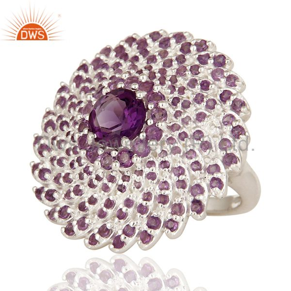 Suppliers 925 Sterling Silver Amethyst Gemstone Round Cut Cluster Flower Cocktail Ring