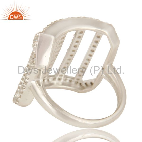 Suppliers 925 Sterling Silver White Topaz Gemstone Designer Cutout Dome Ring