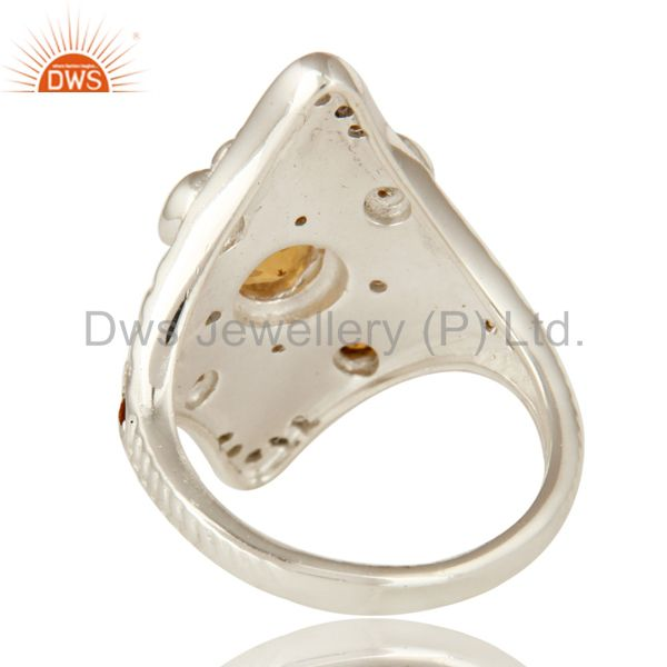 Suppliers 925 Sterling Silver Natural Citrine Gemstone Statement Designer Ring