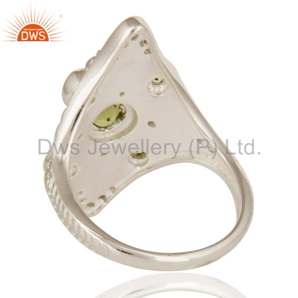 Suppliers Designer Sterling Silver Peridot Gemstone Womens Statement Ring