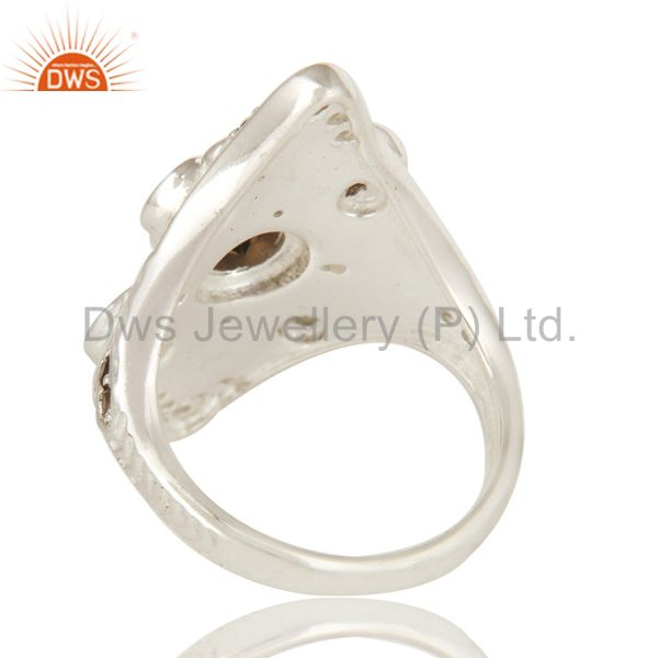 Suppliers 925 Sterling Silver Natural Smoky Quartz Gemstone Statement Ring