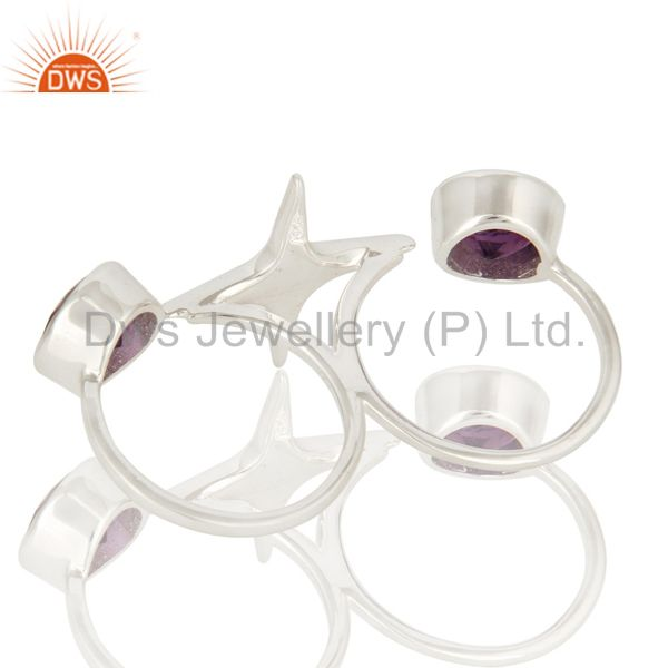 Suppliers HIgh Polish Sterling Silver Amethyst Gemstone Double Finger Open Ring