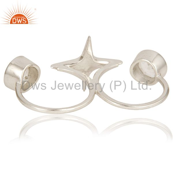 Suppliers High FInish Sterling Silver Crystal Quartz Gemstone Star Double Finger Ring