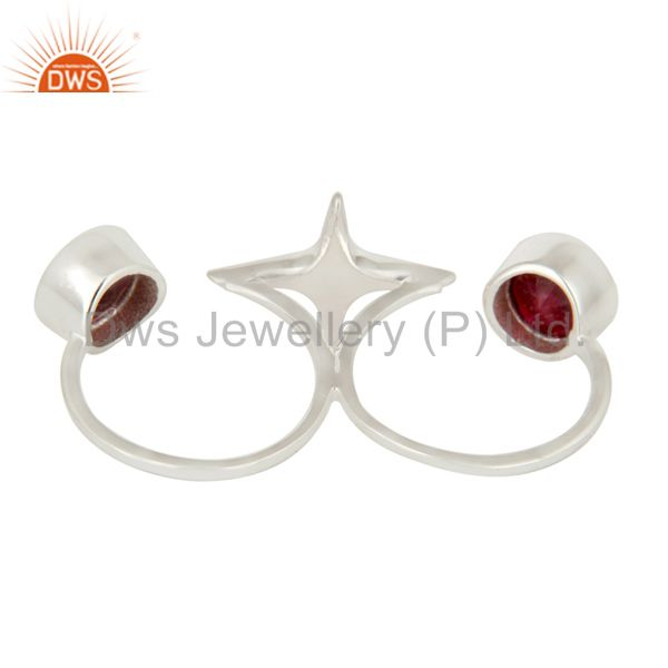 Suppliers 925 Sterling Silver Ruby Gemstone Double Finger Star Ring