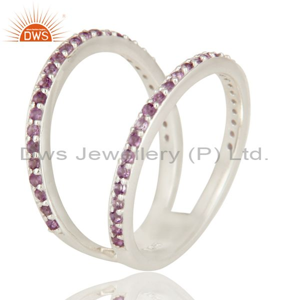 Suppliers Natural Amethyst Gemstone 925 Sterling Silver Double Stacking Ring